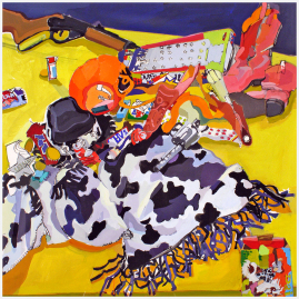 "Pop-Up Cowgirl. Gouache, 35"" x 35"". 2006."